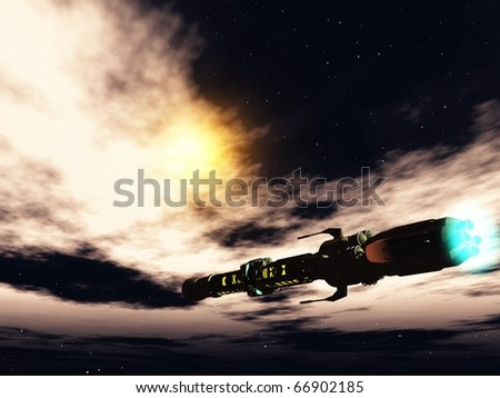 Starship in deep space - stock photo