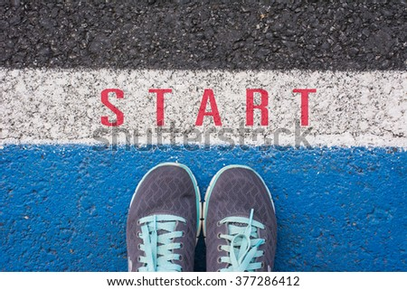 Start a new career concept ,  shoes at start line