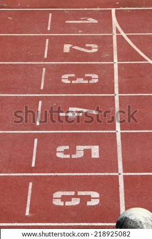 Start and Finish point of a race track - stock photo