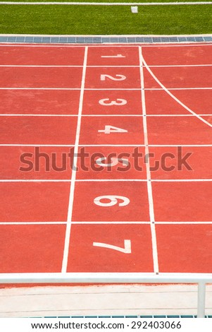 Start and Finish point of race track, top view. - stock photo