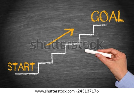 Start and Goal - Business chalkboard concept - stock photo