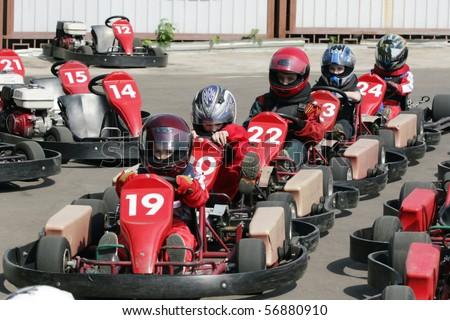 Start. Go-Kart racing for kids & children. - stock photo