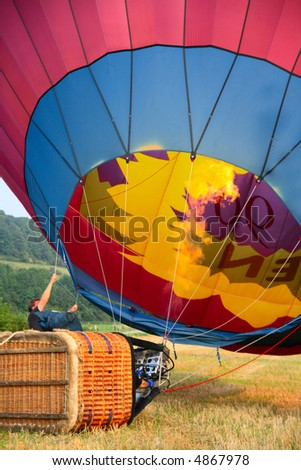 Start of a hot air balloon - stock photo