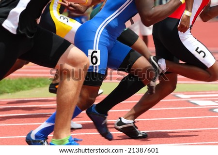 Start of the race (some motion blur and shallow depth of field) - stock photo