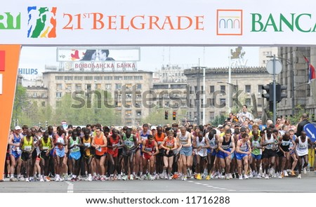 Start of the 21st Belgrade marathon 2008