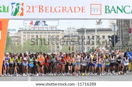 Start of the 21st Belgrade marathon 2008 - stock photo