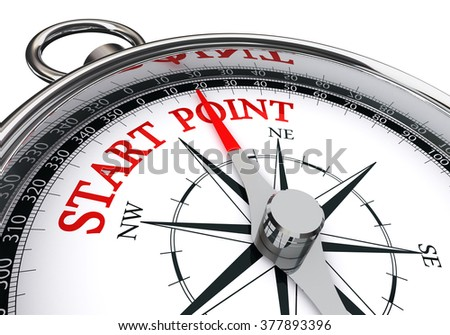 start point indicated by concept compass, isolated on white background