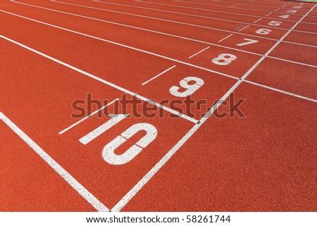 start point on sport field - stock photo
