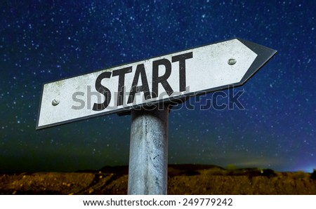 Start sign with a beautiful night background - stock photo