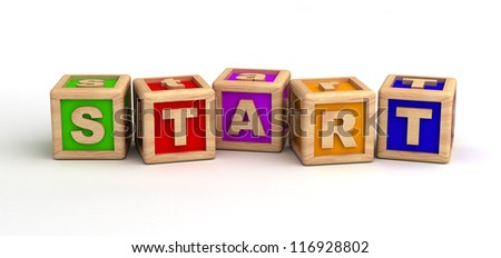 Start text on cubes (computer generated images) - stock photo