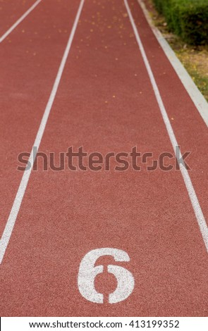 Start track. Lanes 6, number one of a red racing track. - stock photo