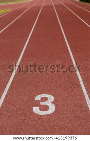 Start track. Lanes 3, number one of a red racing track. - stock photo