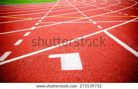 Start track. Lanes 1 number one on red racing track. - stock photo