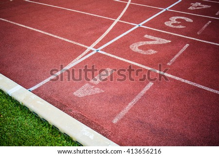 Start Track. Lines On a Red Running Track.