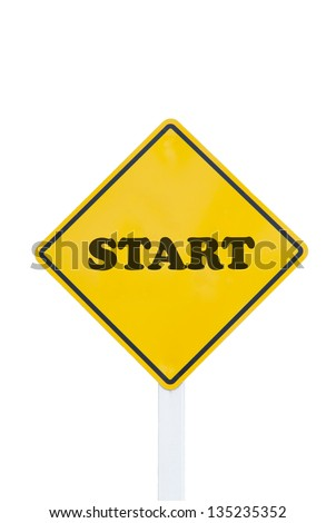 start traffic sign on white background - stock photo
