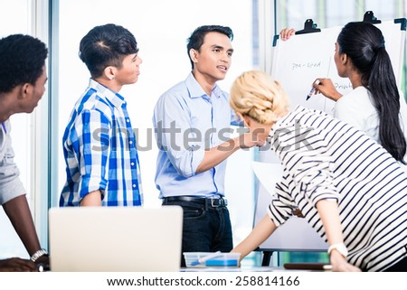 Start-up company in investment pitch for funding to a potential investor - stock photo