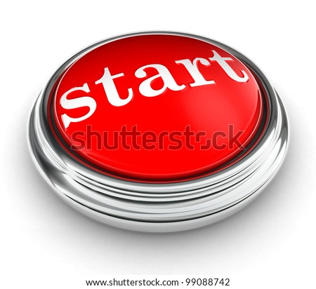 start word on red push button on white background. clipping path included