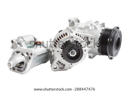 starter, alternator / generator and air conditioning compressor isolated on white background - stock photo