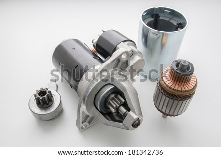 Starter for a car with spare parts - stock photo