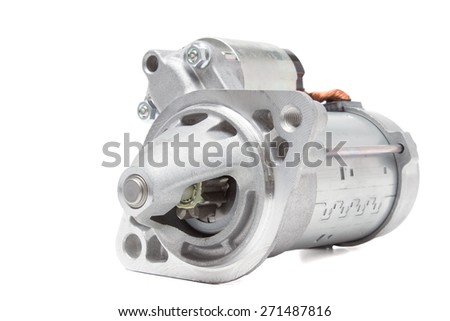 starter motor car on a white background - stock photo