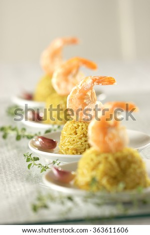 Starter with prawns - stock photo