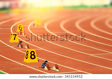 starting block in track and field - stock photo
