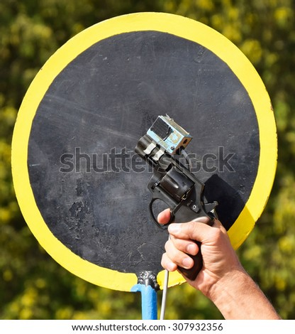 Starting gun of the running race - stock photo