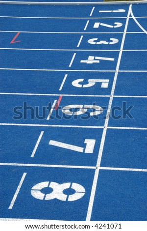 Starting line of blue running track