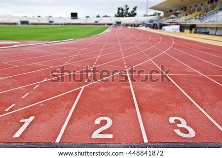 starting line.Race track.stain water - stock photo