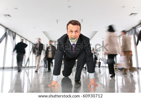 starting marathon businessman with dollar and moving crowd in corridor collage