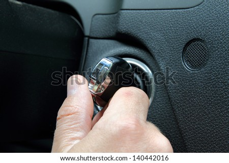 Starting the car - stock photo
