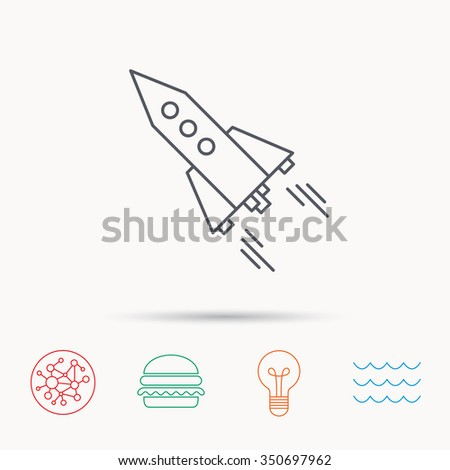 Startup business icon. Rocket sign. Spaceship shuttle symbol. Global connect network, ocean wave and burger icons. Lightbulb lamp symbol. - stock photo