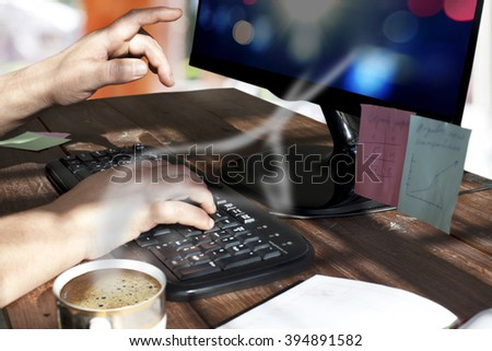 startup business, software developer working on computer. - stock photo