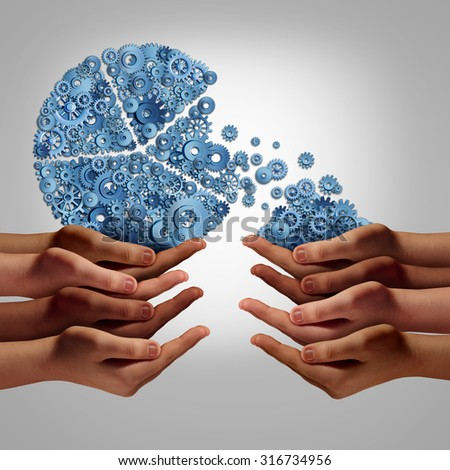 Startup company investing funding and development concept as a group of diverse human hands giving or taking investment from a company business pie chart made of gears and cogs. - stock photo