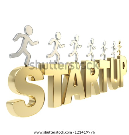 Startup conception illustration: group of human symbolic figures running over the golden words Start Up isolated on white background - stock photo