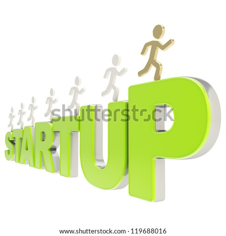 Startup conception illustration: group of human symbolic figures running over the green words Start Up isolated on white background - stock photo