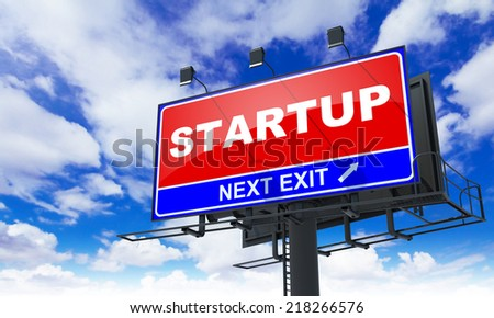 Startup - Red Billboard on Sky Background. Business Concept. - stock photo