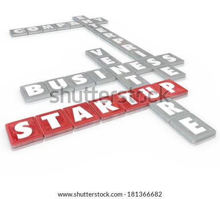 Startup Words Letter Tiles Business Venture Enterprise Company