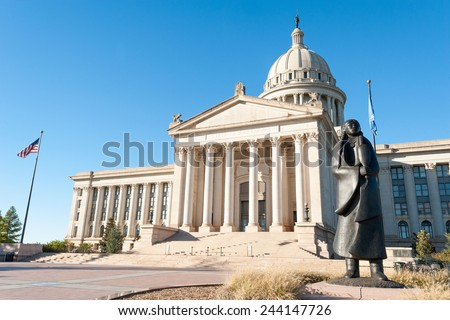 State Capitol in Oklahoma city, capital of Oklahoma state, USA - stock photo