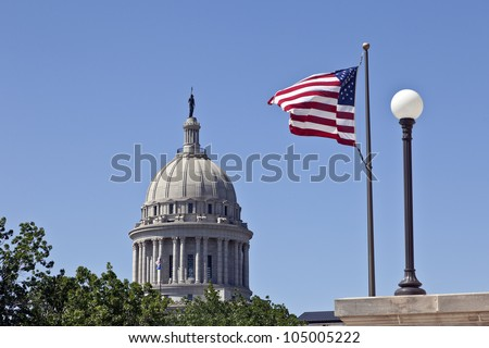 State Capitol in Oklahoma City with Flags, Oklahoma , USA - stock photo