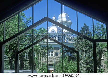 State Capitol of Nevada seen through a gate in Carson City, NV - stock photo