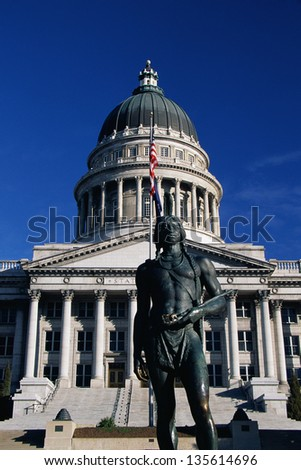 State Capitol of Utah with the bronze statue of a Massassait Indian in Salt Lake City, Utah