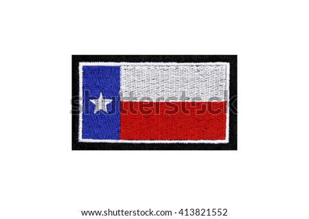state flag of texas embroidered badge - stock photo