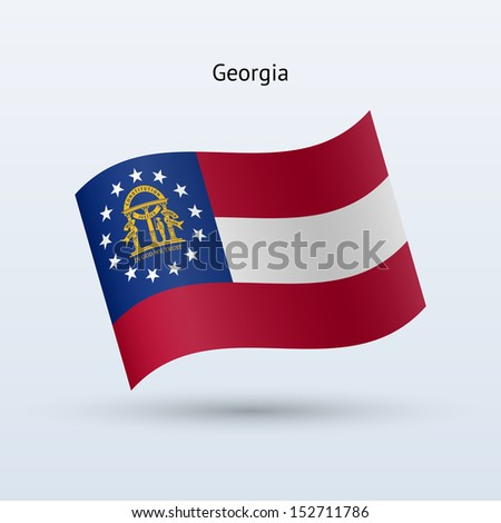 State of Georgia flag waving form on gray background. See also vector version. - stock photo