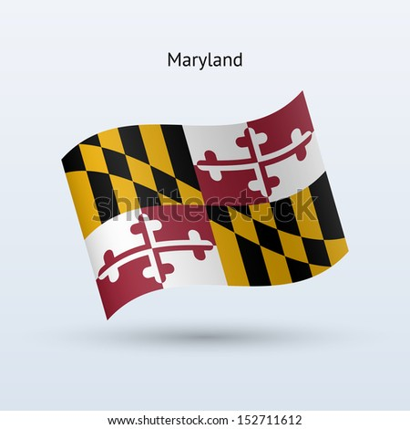 State of Maryland flag waving form on gray background. See also vector version. - stock photo