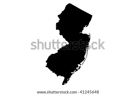 State of New Jersey - white background - stock photo