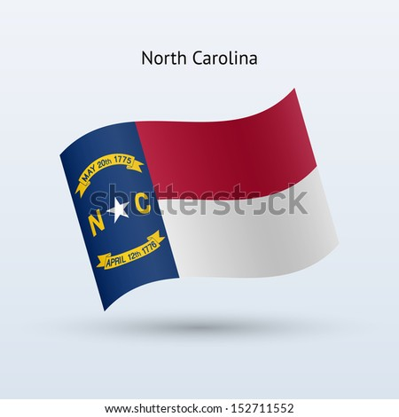 State of North Carolina flag waving form on gray background. See also vector version. - stock photo