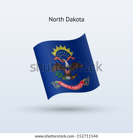 State of North Dakota flag waving form on gray background. See also vector version. - stock photo