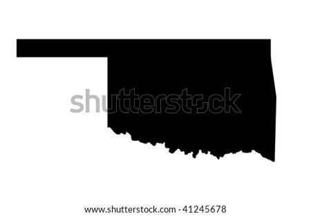 State of Oklahoma - white background - stock photo