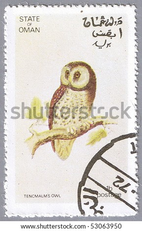 STATE OF OMAN - CIRCA 1972: A stamp printed in State of Oman shows owl, series devoted to the birds, circa 1972